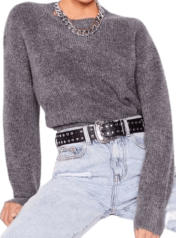 Charcoal We're Keeping Knit Quick Fluffy Relaxed Sweater-Nasty Gal
