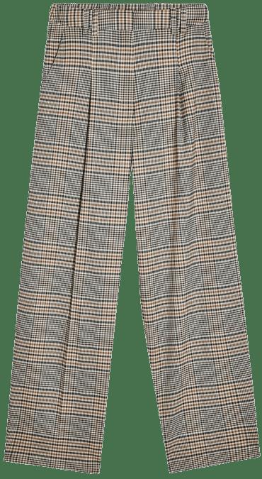 Check Elastic Back Pants-Topshop