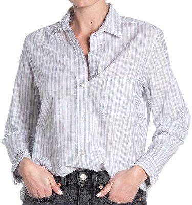 Clara Navy Stripe Print Cotton Shirt-Grayson