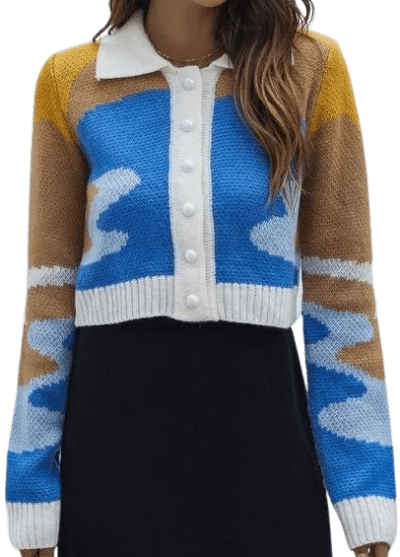 Colorblock Button Front Crop Cardigan-Shein