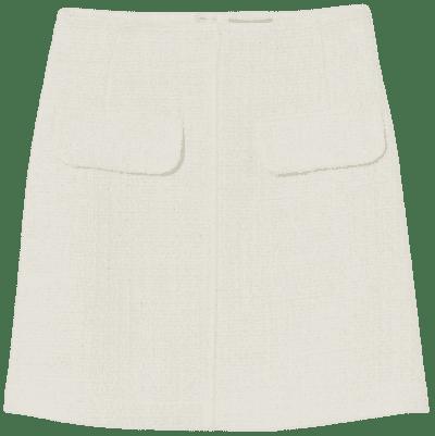 Cream Bouclé Mini Skirt-H&M