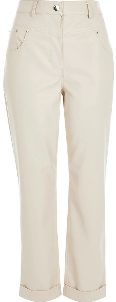Cream Faux Leather Mom Trousers-River Island