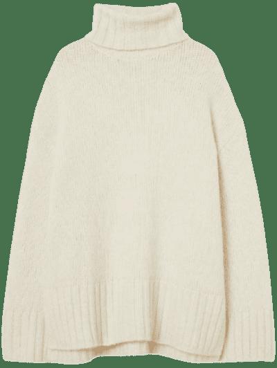 Cream Turtleneck Sweater-H&M