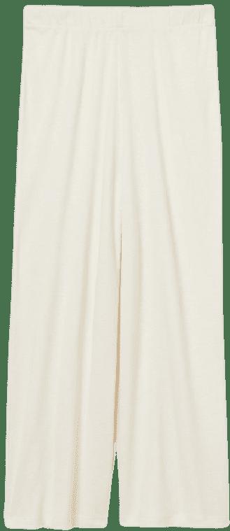 Cream Wide-Cut Jersey Pants