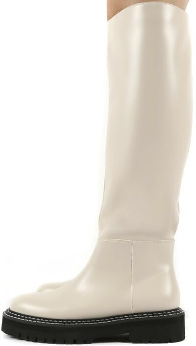 Dana Bone PU Knee High Boots-Public Desire
