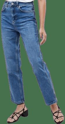 Dark Stone Blue Farleigh High Waisted Straight Leg Jeans-Asos Design