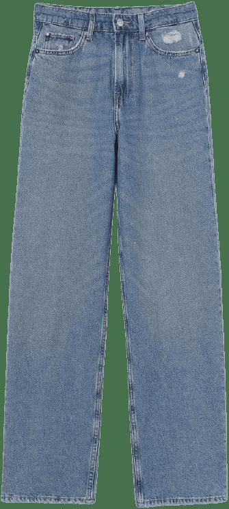 Denim Blue Loose Straight High Jeans-H&M