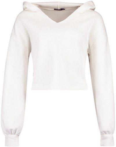 Ecru Mix & Match V Neck Hooded Crop Sweater-Boohoo