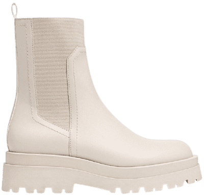 Ecru Stretch Flat Ankle Boots With Track Soles-Stradivarius