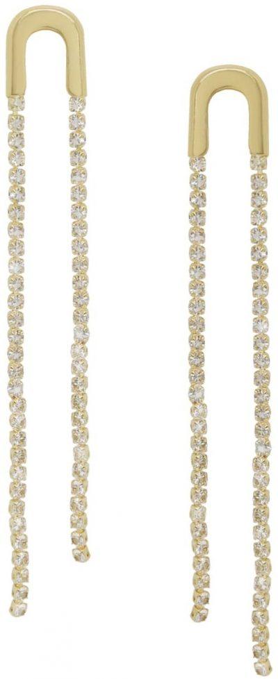 Gold Crystal Chain Drop Earrings-Ettika