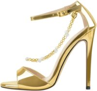 Gold Pearl Metal Chain Ankle Strap Sandals-Onlymaker