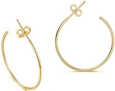 Gold Plated Thin Hoop Earrings-Turandoss