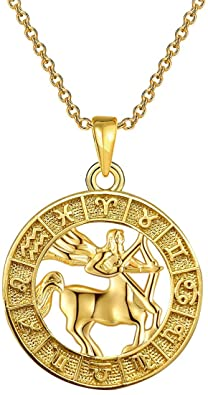 Gold Zodiac Pendant Necklace-yfstyle