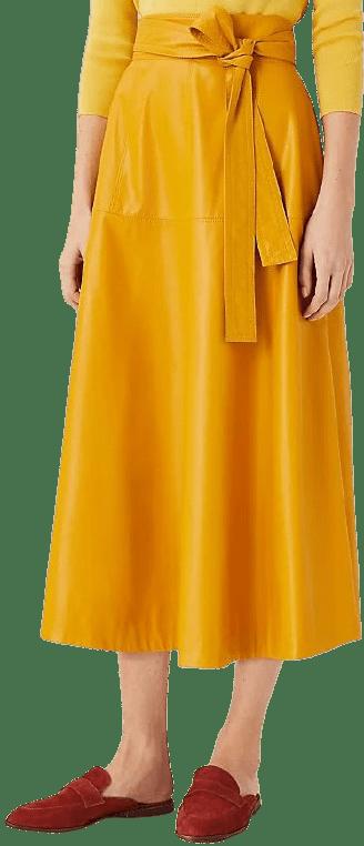 Golden Sunray Faux Leather Tie Waist Midi Skirt-Ann Taylor