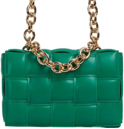 Green Faux Leather Jackson Chain Detail Quilted Shoulder Bag-Ego