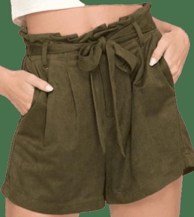 Green Paperbag Waist Suede Short-She + Sky
