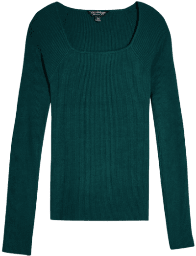 Green Square Neck Rib Knitted Top-Miss Selfridge