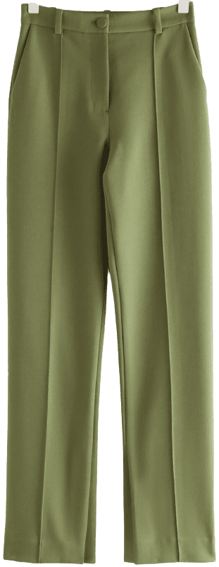 Green Straight High Waist Slit Trousers-& Other Stories