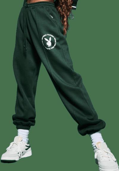 Green Varsity Pin Tuck Joggers