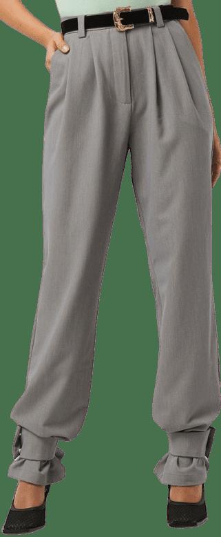 Grey Closure Suit Pants-NA-KD