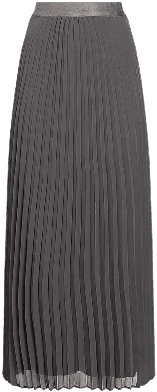 Grey High Waisted Pleated Maxi Skirt-Express