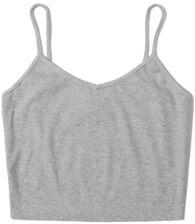 Grey Rib-Knit Crop Cami Top