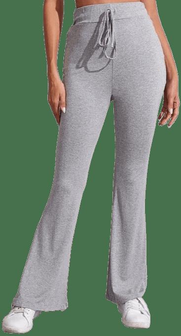 Heather Grey Flare Leg Trousers-Shein