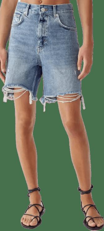 High-Rise Blue Denim Bermuda Shorts-Pull&Bear