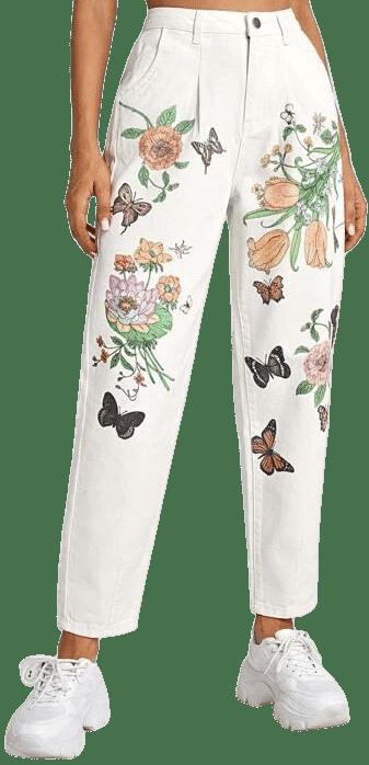 High Waist Floral & Animal Print Mom Jeans-Shein
