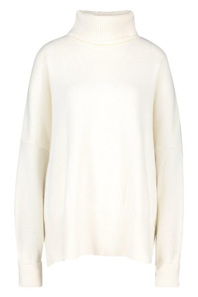 Ivory Oversized Turtleneck Knitted Sweater