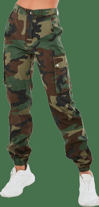 Khaki Camo Printed Cargo Pants-Missguided