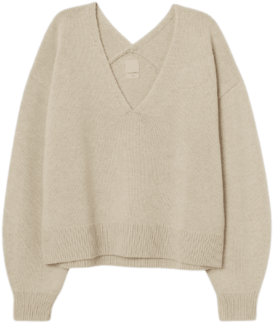 Light Beige Knit Wool Sweater-H&M