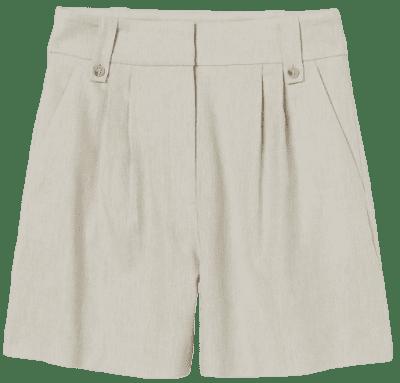 Light Beige Linen-Blend Shorts-H&M
