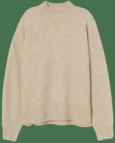 Light Beige Melange Fine-Knit Sweater-H&M