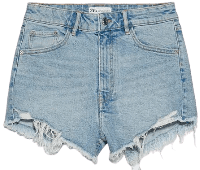 Light Blue Hi Rise Denim Shorts-Zara