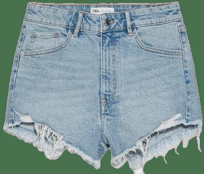 Light Blue Hi Rise Denim Shorts-Zara