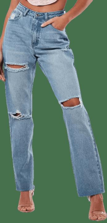 Light Blue Highwaisted Slash Straight Leg Jeans-Missguided