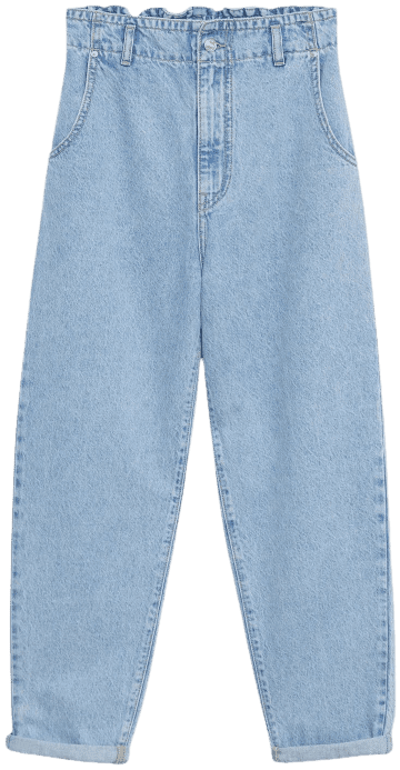 Light Blue Waist Straight Slouchy Jeans-Mango