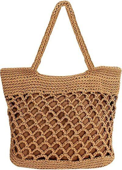 Light Brown Woven Beach Bag-Sherry