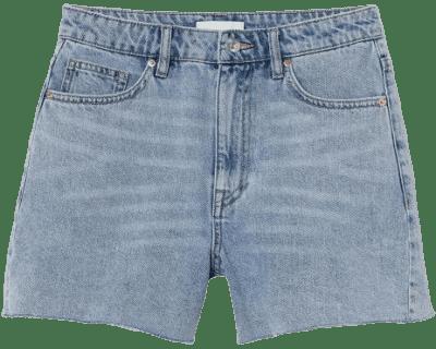 Light Denim Blue Denim High Waist Shorts-H&M