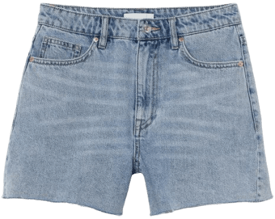Light Denim Blue Denim Shorts High Waist-H&M