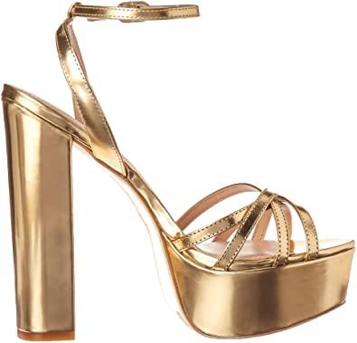 Light Gold Charlotte Platform Heeled Sandal-Rachel Zoe