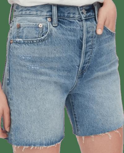 Light Indigo Mid Rise Boyfriend Shorts-Gap
