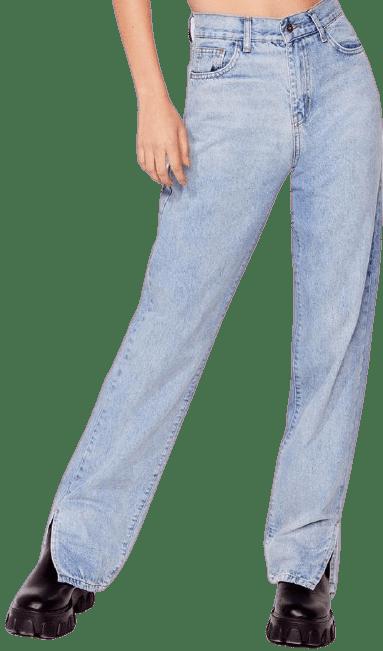 Light Wash Let's Split Straight-Leg Jeans