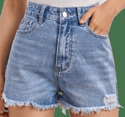 Light Wash Raw Hem Denim Shorts-Shein
