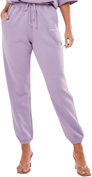 Lilac Missguided Slogan Oversized 90s Joggers-Missguided