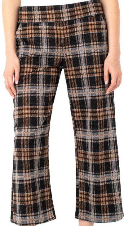 Mabel Plaid High-Waiste Wide-Leg Crop Pants
