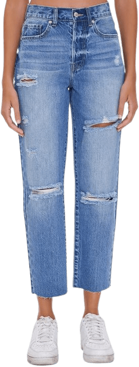 Medium Denim Distressed Mom Jeans-Forever 21