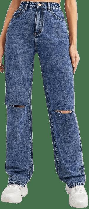 Medium Wash High Waist Ripped Straight Leg Jeans-Shein