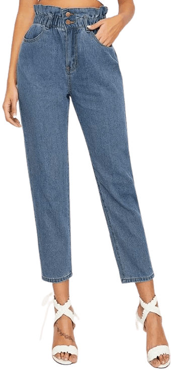 Medium Wash High-Waisted Paperpag Cropped Mom Jeans